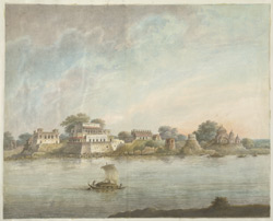 The river bank at Najafgarh, showing the remains of substantial houses and temples.